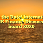 Save the Date! International SME Finance Discussion board 2020